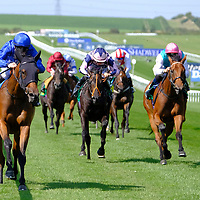 Expressiy and Colm O'Donoghue winning the first race at Newmarket