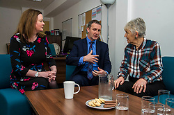 Pictured: Victims Support Scotland chief executive Kate Wallace and Michael Matheson chats to Bea Jones, mother of Moira Jones and founder of The Moira Fund <br /> Justice Secretary Michael Matheson was in Edinburgh today to announce a GBP13.8 million three-year funding deal for Victim Support Scotland. Mr Matheson was joined by charity chief executive Kate Wallace and Bea Jones, mother of Moira Jones and founder of The Moira Fund who has been campaigning for this service. <br /> <br /> Ger Harley | EEm 19 April 2018
