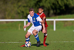 BLACKBURN, ENGLAND - Saturday, January 6, 2018: Liverpool's Elijah Dixon-Bonner and Blackburn Rovers' Jack Evans during an Under-18 FA Premier League match between Blackburn Rovers FC and Liverpool FC at Brockhall Village Training Ground. (Pic by David Rawcliffe/Propaganda)