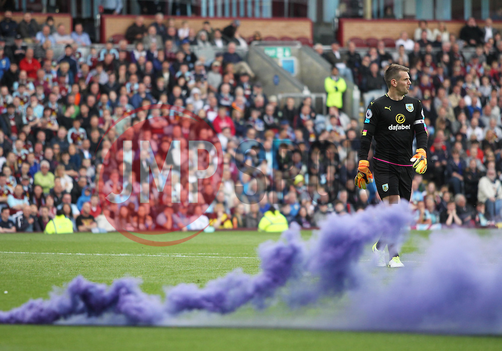 General view of Thomas Heaton of Burnley after a smoke bomb was thrown onto the pitch by the West Ham United fans - Mandatory by-line: Jack Phillips/JMP - 21/05/2017 - FOOTBALL - Turf Moor - Burnley, England - Burnley v West Ham United - Premier League