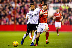 Joe Lolley of Nottingham Forest takes on Jayden Bogle of Derby County - Mandatory by-line: Robbie Stephenson/JMP - 25/02/2019 - FOOTBALL - The City Ground - Nottingham, England - Nottingham Forest v Derby County - Sky Bet Championship