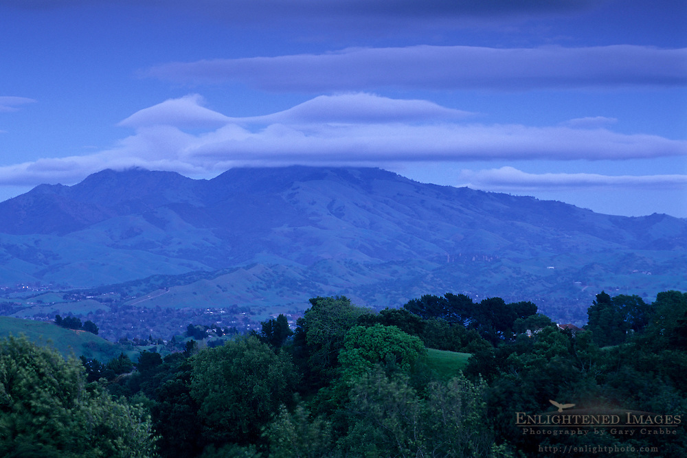 Storm clouds over Mount Diablo in evening light, from Lafayette Ridge, Lafayette, CALIFORNIA