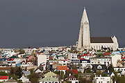 Hallgrímskirkja church in Reykjavik, Iceland, the world's northern-most capital.