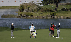 October 21, 2017 - Seogwipo, Jeju Island, South Korea - (From left) Lucas Glove and Scott Brown putt action on the 10th green during an PGA TOUR CJ CUP NINE BRIDGE DAY 3 at Nine Bridge CC in Jeju Island, South Korea. (Credit Image: © Ryu Seung Il via ZUMA Wire)