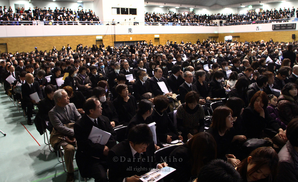Mar. 11, 2012; Minamisanriku, Miyagi Pref. - Roughly 3,000 people attended the Great East Japan Earthquake and Tsunami Memorial Service at Bayside Arena in Minamisanirku...Recovery efforts continue one year later after a magnitude 9.0 earthquake rocked the Tohoku region of Japan and sent a series of tidal waves that wiped out much of the northeast coast and created an ongoing nuclear crisis.