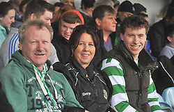 Tom, Maeve and Eoghan Reilly showing their support for Castlebar Celtic at the Connaught Cup Final.<br /> Pic Conor McKeown