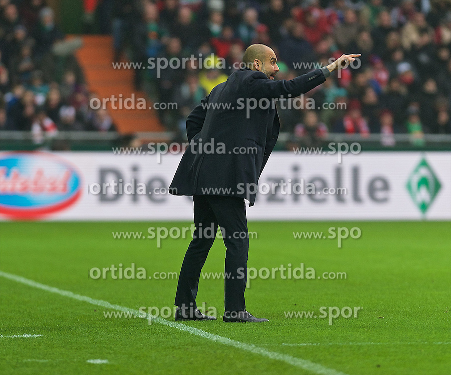 14.03.2015, Weserstadion, Bremen, GER, 1. FBL, SV Werder Bremen vs FC Bayern Muenchen, 25. Runde, im Bild Josep &quot;Pep&quot; Guardiola (Cheftrainer FC Bayern Muenchen / M&uuml;nchen) gestikulierend auf dem Spielfeld // during the German Bundesliga 25th round match between SV Werder Bremen and FC Bayern Munich at the Weserstadion in Bremen, Germany on 2015/03/14. EXPA Pictures &copy; 2015, PhotoCredit: EXPA/ Andreas Gumz<br /> <br /> *****ATTENTION - OUT of GER*****