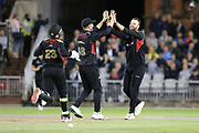 Leicestershire Foxes Arron Lilley celebrates his wicket  during the Vitality T20 Blast North Group match between Lancashire Lightning and Leicestershire Foxes at the Emirates, Old Trafford, Manchester, United Kingdom on 30 August 2019.