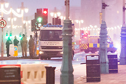 © Licensed to London News Pictures. 10/09/2017. Brighton, UK. A Bomb Disposal unit can bee seen outside the Grand Hotel in Brighton. Police evacuated the Brighton Centre and the Grand Hotel due to a suspicious device. The Grand hotel is known fas the site of the Conservative Party conference bomb attack in 1984. The TUC Congress is currently being held at the adjoining Brighton Conference centre. Photo credit: Hugo Michiels/LNP