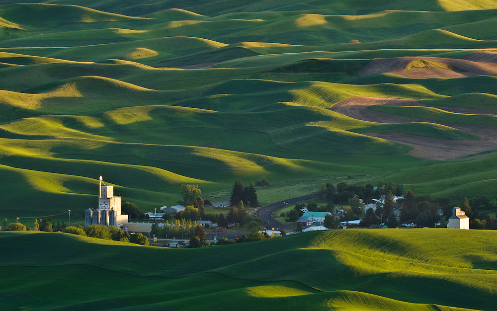 Palouse country wheat fields and the town of Steptoe from Steptoe Butte, Washington.