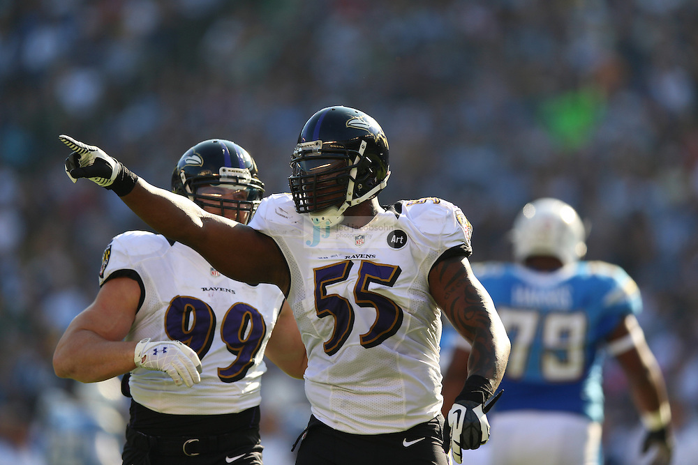 Baltimore Ravens linebacker Terrell Suggs (55) celebrates against the San Diego Chargers during an NFL game on Sunday, November 25, 2012 in San Diego, CA.  (Photo by Jed Jacobsohn)
