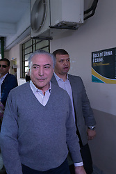 October 2, 2016 - Sao Paulo, Brazil - Brazilian President, MICHEL TEMER, after voting for Mayor and Councilors in Sao Paulo, Brazil, this Sunday 02. (Credit Image: © Paulo Lopes via ZUMA Wire)