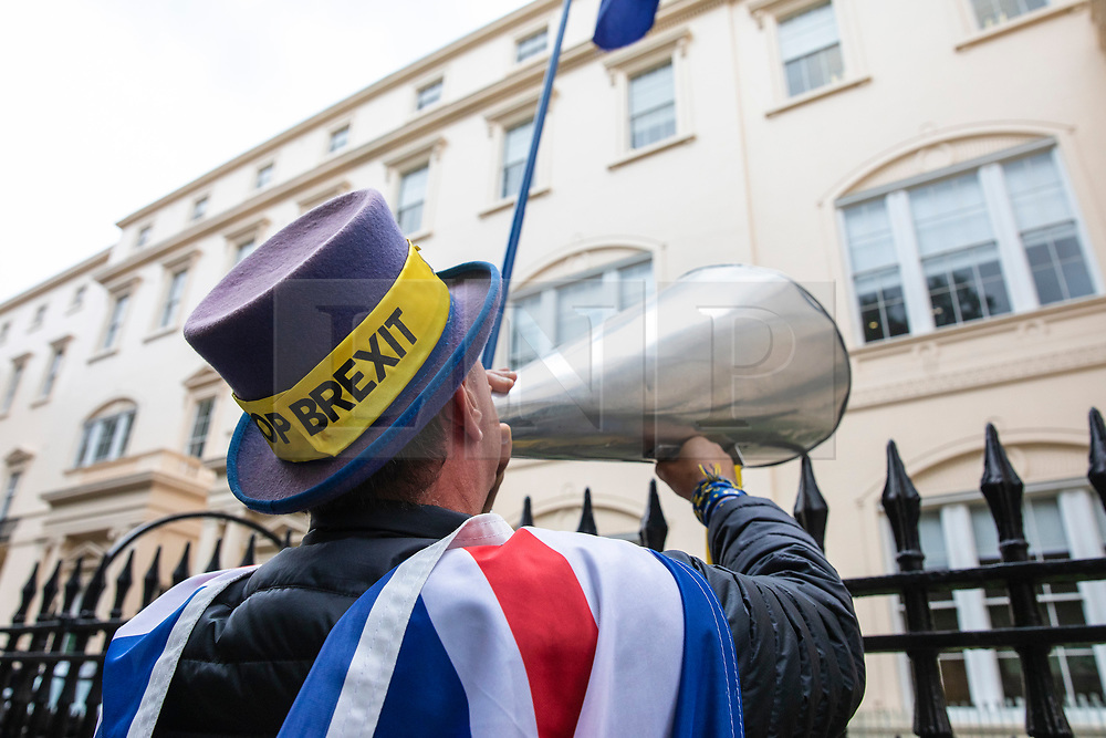 © Licensed to London News Pictures. 12/06/2019. London, UK. Anti-Brexit protester Steve Bray shouts at the room in which Boris Johnson's leadership campaign launch is taking place. Photo credit: Rob Pinney/LNP