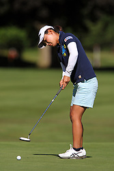 June 14, 2018 - Belmont, Michigan, United States - Sakura Yokomine of Tokyo, Japan putts on the 8th green during the first round of the Meijer LPGA Classic golf tournament at Blythefield Country Club in Belmont, MI, USA  Thursday, June 14, 2018. (Credit Image: © Amy Lemus/NurPhoto via ZUMA Press)