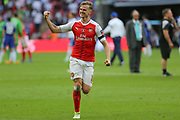 Arsenal's Rob Holding(16) celebrates at the final whistle during the The FA Cup final match between Arsenal and Chelsea at Wembley Stadium, London, England on 27 May 2017. Photo by Shane Healey.