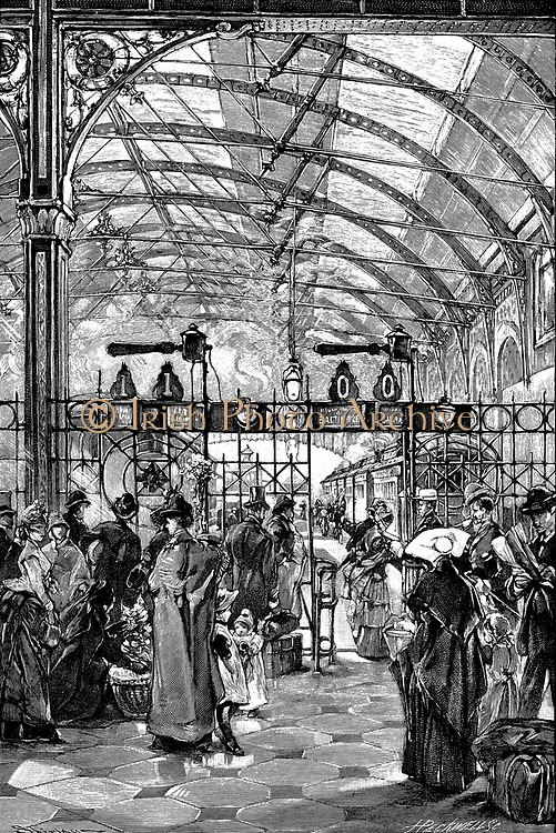 Ticket barrier at Philadelphia passenger station. From 'The Railways of America' London 1890. Cast iron pillars and roof trusses used to support glass roof of building.