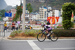 Yixian Pu (CHN) in a long solo move at GREE Tour of Guangxi Women's WorldTour 2019 a 145.8 km road race in Guilin, China on October 22, 2019. Photo by Sean Robinson/velofocus.com