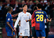 Cristiano Ronaldo, Manchester United, is lucky not to get sent off for a second bookable offence during the final of the UEFA football Champions League on May 27, 2009 at the Olympic Stadium in Rome.