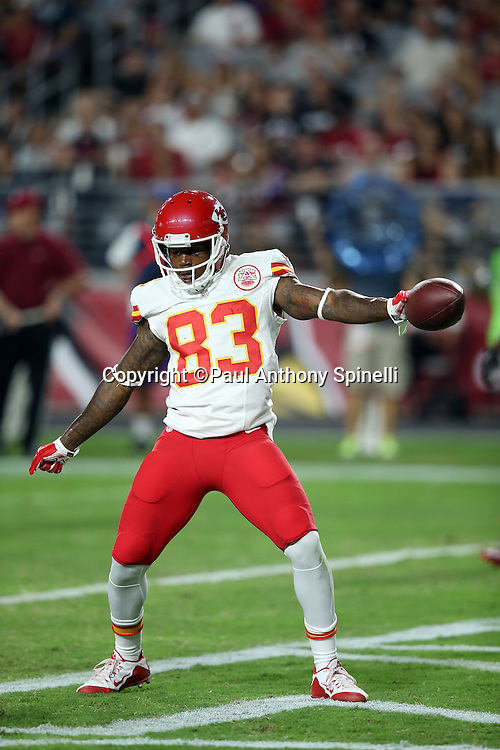 Kansas City Chiefs wide receiver Fred Williams (83) dances in the end zone after catching a 13 yard pass for a second quarter touchdown that ties the score at 10-10 during the 2015 NFL preseason football game against the Arizona Cardinals on Saturday, Aug. 15, 2015 in Glendale, Ariz. The Chiefs won the game 34-19. (©Paul Anthony Spinelli)