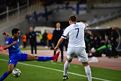 November 15, 2018 - Athens, Attiki, Greece - Carlos Zeca (no 8) of Greece, tries to stop the effort of Robin Led (no.7) (Credit Image: © Dimitrios Karvountzis/Pacific Press via ZUMA Wire)