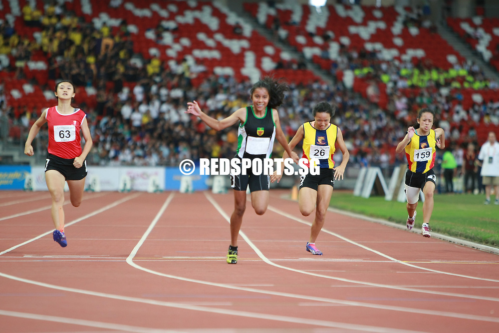 National Stadium, Friday, April 29, 2016 — Amirah Aljunied of Raffles Institution (RI) clinched the A Division Girls' 100 metres gold at the 57th National Schools Track and Field Championships, running a personal best 12.87 seconds in the final.