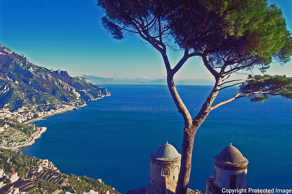 View down the Amalfi Coast from Ravello and Villa Rufalo towards Minori and Maiori and Golfo di Salerno