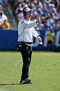Sep 8, 2019; Carson, CA, USA; Indianapolis Colts head coach Frank Reich gestures in the fourth quarter against the Los Angeles Chargers at Dignity Health Sports Park. The Chargers defeated the Colts 30-24 in overtime.