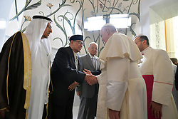 Pope Francis meets the Muslim Council of Elders during a visit at Sheikh Zayed Grand Mosque in Abu Dhabi on February 4, 2019. It is the first ever papal visit to the Arabian Peninsula, birthplace of Islam, where he will meet leading Muslim clerics and hold an open-air mass for some 135,000 Catholics. Photo by ABACAPRESS.COM