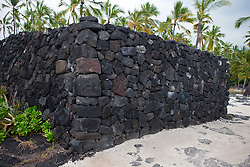 Lava rock wall, Pu'uhonua o Honaunau National Historical Park, The Big Island, Hawaii, United States of America