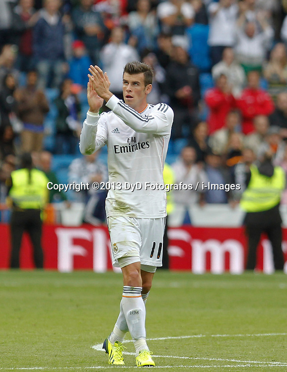 Gareth Bale. <br /> Real Madrid player Gareth Bale during the Liga football match Real Madrid vs Malaga at Santiago Bernabeu Stadium, Madrid, Spain, Saturday, 19th October 2013. Picture by DyD Fotografos / i-Images<br /> SPAIN OUT