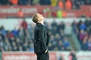 Swansea City Manager Garry Monk looks to the heavens in the second half.<br /> Barclays Premier league match, Swansea city v Crystal Palace at the Liberty stadium in Swansea, South Wales on Saturday 29th November 2014<br /> pic by Phil Rees, Andrew Orchard sports photography.