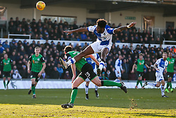 Ellis Harrison of Bristol Rovers is challenged by Johnny Margetts of Scunthorpe United as he shoots - Rogan/JMP - 24/02/2018 - FOOTBALL - Memorial Stadium - Bristol, England - Bristol Rovers v Scunthorpe United - EFL Sky Bet League One.