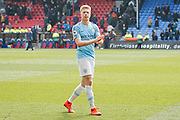 Manchester City midfielder Kevin De Bruyne (17) applauds, claps after the Premier League match between Crystal Palace and Manchester City at Selhurst Park, London, England on 14 April 2019.