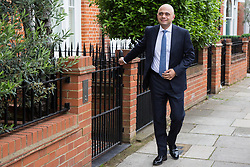 London, UK. 19 June, 2019. Home Secretary Sajid Javid leaves his home on the morning of the third ballot for the Conservative Party leadership. The candidate with the lowest number of votes will be eliminated.