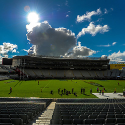 A general view of the stadium during the 2017 DHL Lions Series British & Irish Lions kicking practice at Eden Park in Auckland, New Zealand on Friday, 7 July 2017. Photo: Dave Lintott / lintottphoto.co.nz