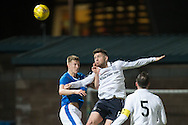 Kerr Waddell wins an aerial battle - Rangers v Dundee in the SPFL Development League at Forthbank, Stirling. Photo: David Young<br /> <br />  - &copy; David Young - www.davidyoungphoto.co.uk - email: davidyoungphoto@gmail.com