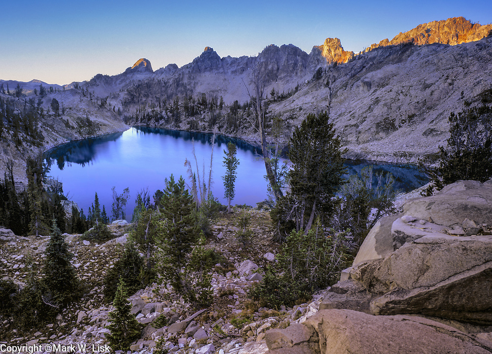 Overlooking unnamed lake in the Alpine creek drainage of the Sawtooth Wilderness Area, Idaho.
