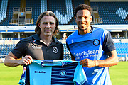 Wycombe Wanderers manager Gareth Ainsworth with new signing Nathan Tyson (8) of Wycombe Wanderers before the Pre-Season Friendly match between Wycombe Wanderers and AFC Wimbledon at Adams Park, High Wycombe, England on 25 July 2017. Photo by Graham Hunt.