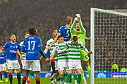 Goalkeeper Fraser Forster of Celtic FC punches the ball away from his goal during the Betfred Scottish League Cup Final match between Rangers and Celtic at Hampden Park, Glasgow, United Kingdom on 8 December 2019.