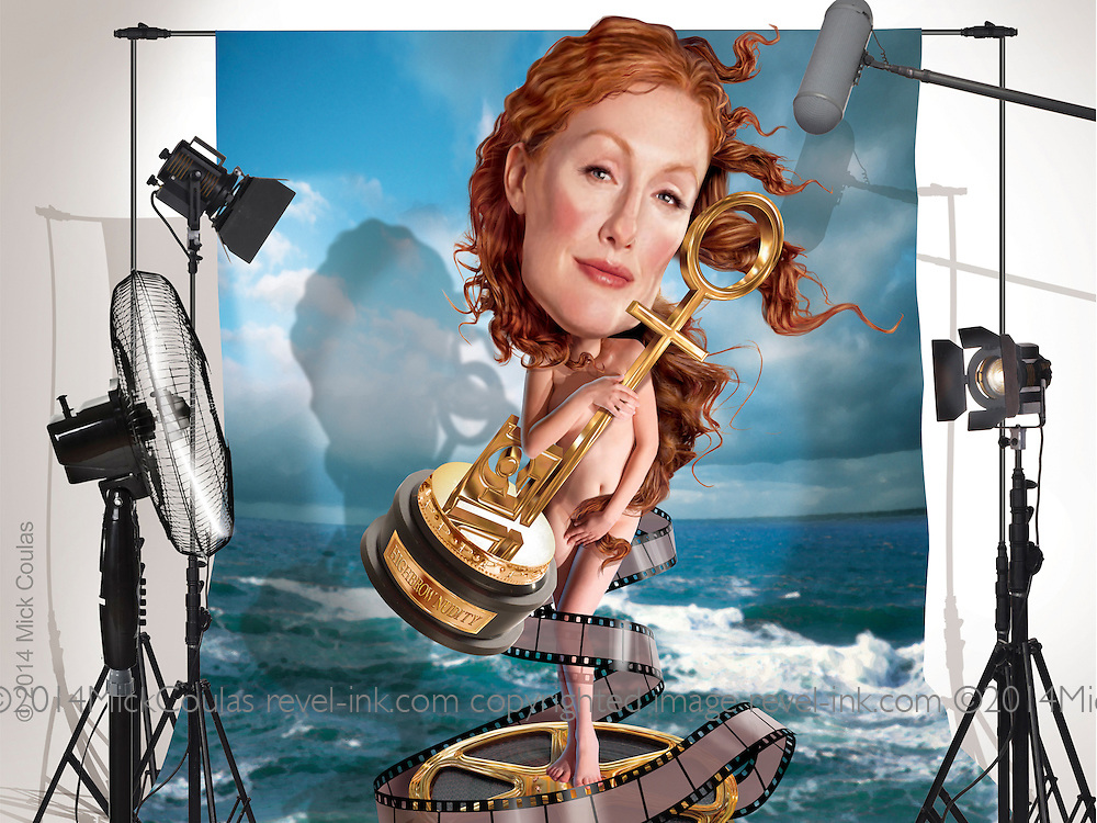 Caricature: The Penthouse Magazine award goes to Julianne Moore for her tasteful nude scenes in movies such as The Kids Are All Right, Chloe, The End of the Affair, Boogie Nights. 3D and Photoshop.