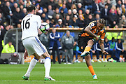 Hull City striker Abel Hernandez (9) takes shot at goal  during the Premier League match between Hull City and Sunderland at the KCOM Stadium, Kingston upon Hull, England on 6 May 2017. Photo by Ian Lyall.