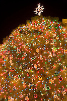 Christmas lights at San Jacinto Plaza, the heart of downtown, El Paso, Texas
