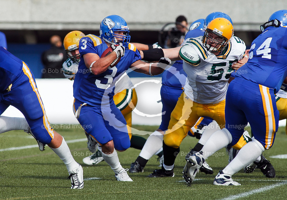 17 September 2011:  Action during a Men's Football game between the University of British Columbia Thunderbirds and the University of Alberta Golden Bears at Thunderbird Stadium, University of British Columbia, Vancouver, BC, Canada.  Final Score:  UBC 40   Uof A 30   ****(Photo by Bob Frid/UBC Athletics) 2011 All Rights Reserved****