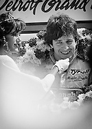 British Formula One rookie Martin Brundle celebrates his first podium at the 1984 Detroit Grand Prix. <br />