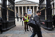 Tony Dennis on  the British museum picket line. PCS Budget Day Strikes were held all over London, followed by a rally outside the House of Commons. 20th March 2013.