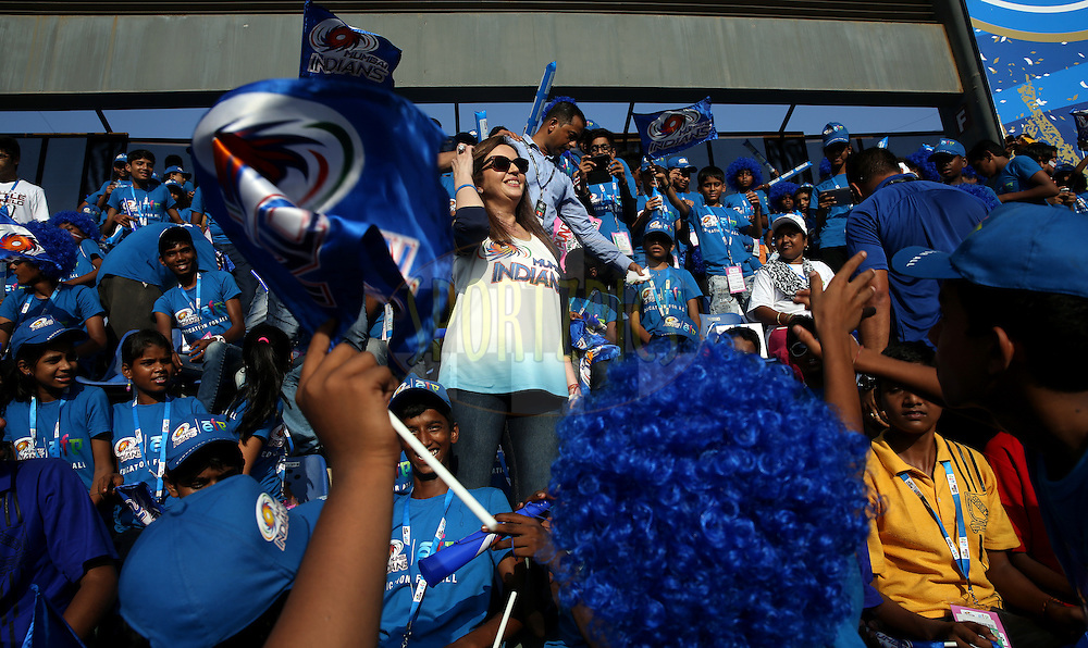 Nita Ambani owner of Mumbai INdians With Eduction For All NGO Kids during match 22 of the Pepsi Indian Premier League Season 2014 between the Mumbai Indians and the Kings XI Punjab held at the Wankhede Cricket Stadium, Mumbai, India on the 3rd May  2014<br /> <br /> Photo by Sandeep Shetty / IPL / SPORTZPICS<br /> <br /> <br /> <br /> Image use subject to terms and conditions which can be found here:  http://sportzpics.photoshelter.com/gallery/Pepsi-IPL-Image-terms-and-conditions/G00004VW1IVJ.gB0/C0000TScjhBM6ikg