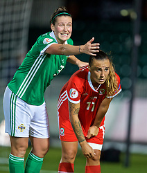 NEWPORT, WALES - Tuesday, September 3, 2019: Northern Ireland's Demi Vance and Wales' Natasha Harding during the UEFA Women Euro 2021 Qualifying Group C match between Wales and Northern Ireland at Rodney Parade. (Pic by David Rawcliffe/Propaganda)