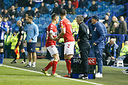 Middlesbrough midfielder Muhamed Besic (37) is replaced by Middlesbrough defender Danny Baath (6) during the EFL Sky Bet Championship match between Sheffield Wednesday and Middlesbrough at Hillsborough, Sheffield, England on 19 October 2018.