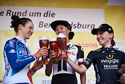 Top three: Coryn Rivera (USA), Roxane Fournier (FRA) and Lisa Brennauer (GER) at Lotto Thuringen Ladies Tour 2018 - Stage 1, an 82.5 km road race starting and finishing in Schleusingen, Germany on May 28, 2018. Photo by Sean Robinson/Velofocus.com