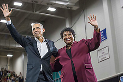 Former President Barack Obama and Georgia gubernatorial candidate Stacey Abrams wave to the crowd following a rally in Forbes Arena at Morehouse College in Macon, GA, USA, on Friday, Nov. 2, 2018. Photo by Alyssa Pointer/Atlanta Journal-Constitution/TNS/ABACAPRESS.COM